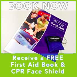 Free CPR Face Shield and First Aid Book.